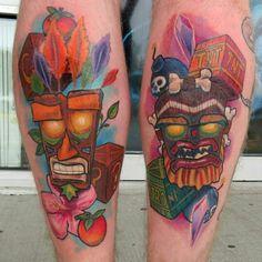 @tobyshipmantattoos Crash Bandicoot Pieces Nerdy Tattoos, Movie Tattoos, Crash Bandicoot Tattoo, Mario Tattoo, Ink Link, Tiki Tattoo, Jak & Daxter, Tiki Mask, Gaming Tattoo