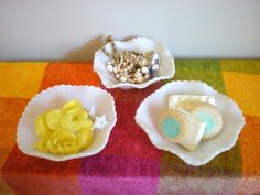 Milk Glass Bowl Vintage Milkglass Set of 3 Small Bowls/Soap Dish/ Candy and Nut Dishes, Rustic Wedding Reception by chloeswirl on Etsy Scarf Display, Rustic Wedding Reception, Milk Glass, Vanity Tops, Unique Jewelry, Handmade Gifts, Candy, Dishes, Weddings