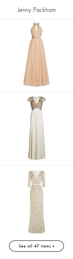 """Jenny Packham"" by bleubeauty1 ❤ liked on Polyvore featuring dresses, gowns, gown, long dresses, beige, beige chiffon dress, floor length chiffon dress, floor length gowns, beige evening dress and chiffon gowns"