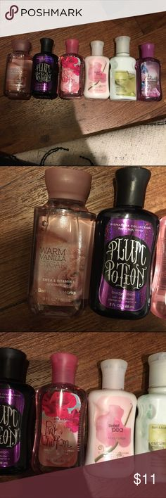 bath & body works lotion and shower gel bundle! Warm vanilla sugar shower gel, plum potion lotion, pink chiffon shower gel, sweet pea lotion, cucumber melon lotion, be enchanted shower gel. (All should be new, I may have used the plum potion lotion or cucumber melon lotion once or twice) Bath & Body Works Other
