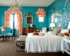 Another shot of this room. I absolutely ACHE for it. The rug keeps all of the goodness livable. #lacquered walls teal orange