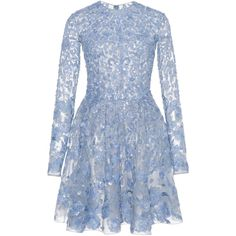 Zuhair Murad Sequin Embroidered Flared Mini Dress (540.595 RUB) ❤ liked on Polyvore featuring dresses, vestidos, zuhair murad, sequin mini dress, blue long sleeve dress, sequined dresses, short dresses and long sleeve mini dress