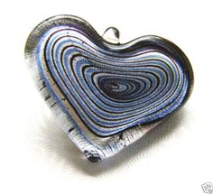 Bruised-Heart-Lampworked-Pendant-38mm-Black-Blue-Silver-Colors