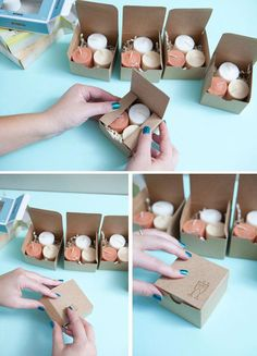 tutorial shows how to make ombre candle wedding favors and how to heat emboss the boxes with a cute wedding rubber stamp!This tutorial shows how to make ombre candle wedding favors and how to heat emboss the boxes with a cute wedding rubber stamp! Wedding Favors And Gifts, Vintage Wedding Favors, Candle Wedding Favors, Wedding Favor Boxes, Wedding Decorations, Favour Boxes, Wedding Ideas, Diy Wedding Souvenirs, Candle Favors
