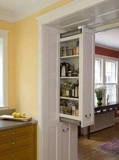 awesome idea! Pull out cupboards in the entryways