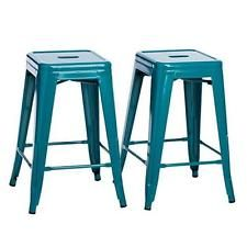 Set of 2 Turquoise French Bistro Tolix Style Metal Counter Stools in Glossy Pain