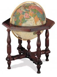 """The Statesman, Antique Ocean: Classic charm. Available in either blue ocean or antique ocean, with a hand covered map, this 20"""" diameter illuminated globe is mounted on a striking hardwood base finished in walnut. Classic design details, solid brass engraved meridian, and touch-on light control make this globe an appealing element of any traditional decor. #fathers #day #gift #globes #mappmaundi"""