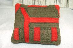 Old Early Brown Red School House Quilt Coverlet Primitive Antique Pillow