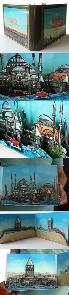 Istanbul's historical places; Haydarpasa train station, Maiden Towers, Golden Horn, Blue Mosque, Sirekeci Train Station, Galata Tower in the book.