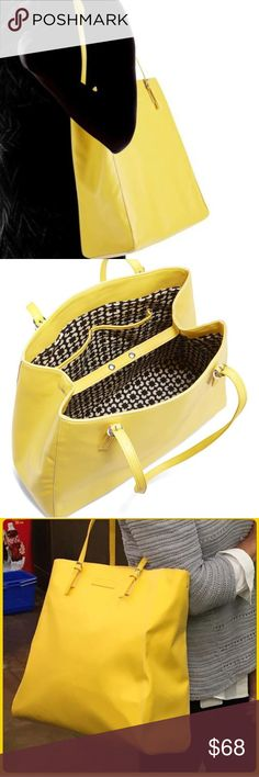 VERA BRADLEY SLIM BUCKLE TOTE IN YELLOW HELLO 2018  HELLO JEWEL TONES  HELLO LARGER THAN LIFE COLORFUL TOTES  SLIM BUCKLE TOTE BY VERA BRADLEY  SN 14523-506  RN 8600328320  FAUX LEATHER  WIDE 20 INCH  LENGH 16   HANDLE DOWN ADJUSTABLE UP TO 16 INCHES LONG   SHOULDER DROP DOWN 27 INCHES    THIS IS A JEWEL TONE THAT HAS TO LIVE WITH YOU.    NEW WITH TAGS. Vera Bradley Bags Totes