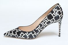 Casadei Resort '16Shoes. A geometric black and white printed pump.