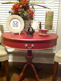 Annie Sloan Emperor's Silk Red Chalk Paint Table Makeover, gold gilding wax   Life on Lakeshore Drive