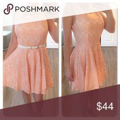 Peach Lace Dress Beautiful peach lace dress! Can be worn with or without the white belt which comes with it. Zipper in the back. Dresses Mini