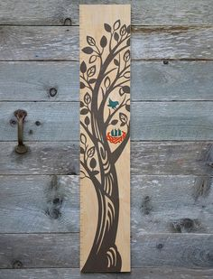 The Growing Tree Wooden Growth Chart  Charcoal by GrowthChartArt, $75.00
