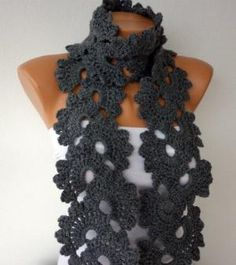 Gray Queen Anne's Lace Scarf Grey