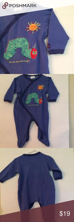🎉EDITOR'S PICK🎉 Eric•Carle•The•Very•Hungry•Caterpillar• Adorable jammies or on the go baby suit• full snap front & legs• caterpillar & sun appliqué on front• thin blue stripes all over design• 100% cotton• footed• shows a little wear/fade•no stains, rips, tears, holes.... •smoke free• dog friendly home•initials written on tag inside neck• Carters Bottoms Jumpsuits & Rompers