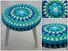 Cute crocheted stool cover, I love the colours.