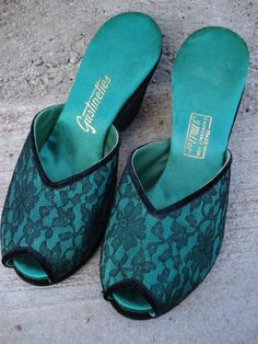Vintage 1950s Slippers Black Illusion Lace Emerald by bycinbyhand, $55.00