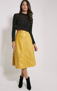 Alison Mustard Faux Leather A-Line Midi Skirt