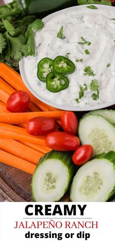 Creamy jalapeño ranch dip (or dressing) is loaded with mild chile peppers, both jalapeño and canned green chiles. This sauce is so easy and delicious with chips, veggies, tacos, or salads. Dip Recipes, Gluten Free Recipes, Real Food Recipes, Easy Recipes, Great Recipes, Snack Recipes, Easy Meals, Cooking Recipes, Healthy Recipes