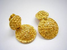 Abstract patterned gold tone metal clip on earrings by badgestuff, $4.00