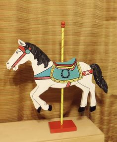 Wood Carousel Horse Custom Colors, You Choose, 24 inches. $65.00, via Etsy.