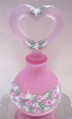 Fenton Perfume Bottle Rose Satin Pink Rosebud Garland OOAK Free USA SHIP | eBay