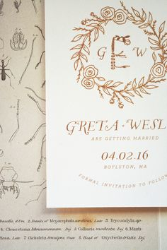 Flora Wedding Invitation Suite | August & Osceola | www.augustandosceola.com | Flora illustrates a love for vintage botanicals with subtle simplicity and whimsical flair. Enhance your look with hot foil stamping / letterpress.