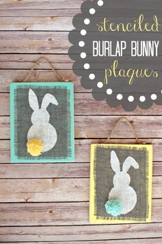 Stenciled Burlap Bunny Plaques  |  View From The Fridge #EASTER #burlap #stencil http://viewfromthefridge.com/stenciled-burlap-bunny-plaques/