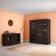Small Display Cabinet, Wall Shelving Units, Burgundy Lipstick, Walnut Finish, Particle Board, Cabinet Design, Online Furniture, Cabinet Doors