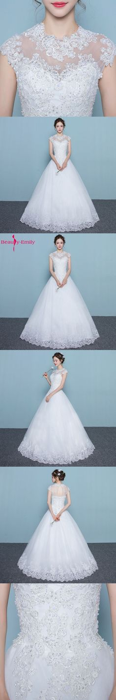 Beauty-Emily Wedding dresses 2017 Plus Size White Ball Gown O-Neck Cap Sleeve Lace Up Appliques Bridal Gowns Wedding Party