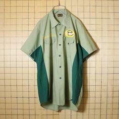 リメイク古着 50s 60s USA製 BIG SMITH ワーク シャツ ワッペン 刺繍 半袖 ライトグリーン メンズL相当 ビッグスミス 黒タグ