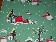 Vintage Christmas Wrapping Paper Unused 1950 Snowman Snowmen Gift Wrap | eBay