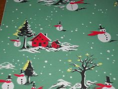 Vintage Christmas Wrapping Paper Unused 1950 Snowman Snowmen Gift Wrap | eBay
