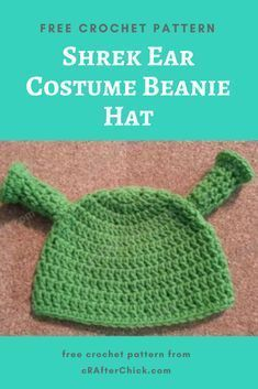 d42e2b034ec Shrek Ear Costume Beanie Hat Free Crochet Pattern long image ...