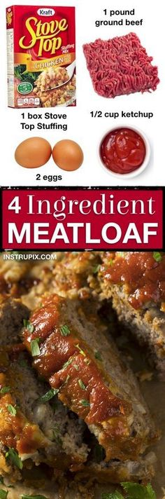 The BEST easy meatloaf recipe made with stove top stuffing! Just 4 ingredients! - The BEST easy meatloaf recipe made with stove top stuffing! Just 4 ingredients! It's so quick and - Best Easy Meatloaf Recipe, Meat Loaf Recipe Easy, Best Meatloaf, Meat Recipes, Cooking Recipes, Stove Top Meatloaf, Recipies, Meatloaf With Stuffing Mix Recipe, Cooking Bacon