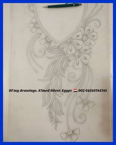 - 👑Of my drawings 🌸 🌸 Silver Egypt. Hand Embroidery Design Patterns, Hand Embroidery Dress, Embroidery Suits Design, Embroidery Flowers Pattern, Couture Embroidery, Embroidery Motifs, Bead Embroidery Jewelry, Ribbon Embroidery, Motifs Perler
