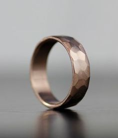 Mens Wedding Band Modern Ring Rose Gold Faceted Textured