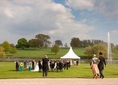 Wedding guests in the grounds at Langley Priory in Derbyshire #langleypriory