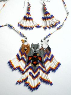 Native American Inspired Animal Totem Necklace Set, Raven, Wolf, Eagle