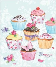 Cupcakes Illustration Paper Ideas For 2019 Cupcake Drawing, Cupcake Art, Birthday Greetings, Birthday Wishes, Birthday Cards, Decoupage Vintage, Decoupage Paper, Food Drawing, Painting & Drawing