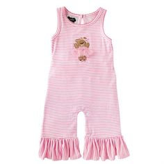 Printed bamboo-blend romper with picot stitch around neckline and sleeves features felt bear applique with tulle skirt, tulle bum ruffles, ruffles at ankles and keyhole back.