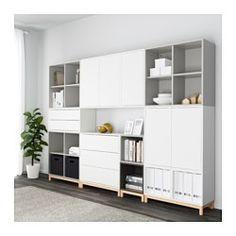 IKEA - EKET, Combinaison rangement avec pieds, blanc/gris clair/gris foncé, , Combinez rangements ouverts et fermés pour exposer ou dissimuler vos objets selon vos préférences.Les tiroirs et les portes sont équipés d'un système intégré d'ouverture par pression ce qui vous évite d'avoir à y fixer des poignées ou des boutons.