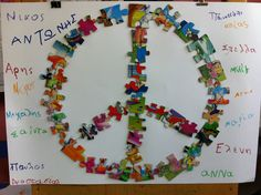 puzzle peace symbol Peace Crafts, 28th October, School Tool, Remembrance Day, Art Activities, Cool Art, Kindergarten, Arts And Crafts, War