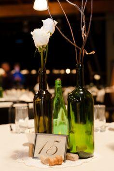 Wine bottle centerpieces--wedding