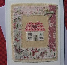 Hand-stitched card by Helen Drewett HOME IS WHERE THE HEART IS collectable item   eBay