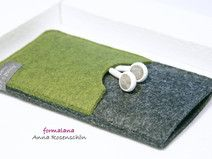 Handy Hülle grün grau Filz Kopfhörer f. iPhone5 6