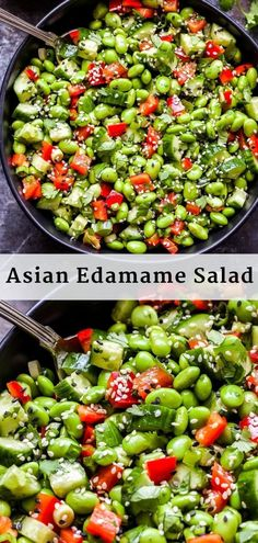 This simple Asian Edamame Salad packs a punch of flavor! Shelled edamame cucumbers red bell pepper and cilantro are all tossed in a sesame vinaigrette. Its a salad you wont be able to leave alone! Bell Pepper Salad, Pepper Recipes, Healthy Salads, Healthy Eating, Healthy Recipes, Simple Salad Recipes, Fruit Salads, Stuffed Pepper Soup, Legumes