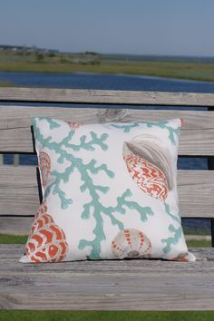 Beach Decor Coral and Seashell Pillow - 18x18 - Pink and Green. $38.00, via Etsy.