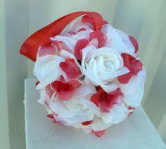 Flower girl kissing ball Wedding flower by BrideinBloomWeddings